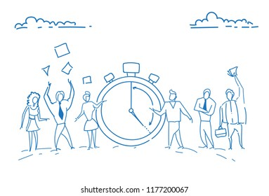 businesspeople standing alarm clock time management deadline concept teamwork punctuality successful strategy sketch doodle hand drawn horizontal vector illustration