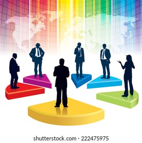 Businesspeople are standing on a large broken graph, the colorful background with world map