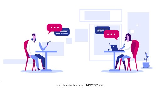 businesspeople using gadgets online application social network chatting communication concept man woman couple with chat bubble speech wireless connection sketch horizontal full length