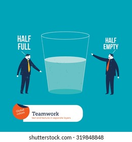 Businesspeople watching a half empty full glass. Vector illustration Eps10 file. Global colors. Text and Texture in separate layers.