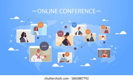 businesspeople in web browser windows discussing during corporate online international conference mix race working by group video call world map background horizontal portrait vector illustration