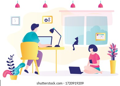 Businesspeople work from home. Male and female freelancers use laptops for job. Love couple doing distance working. Room interior. Characters in trendy style. Flat Vector illustration