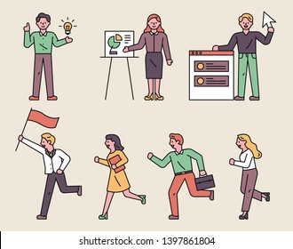 Business-related office characters. People who are holding flags and running towards the goal. flat design style minimal vector illustration