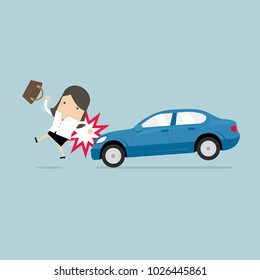 Businesswoman about to be hit by a car, Road Safety. vector