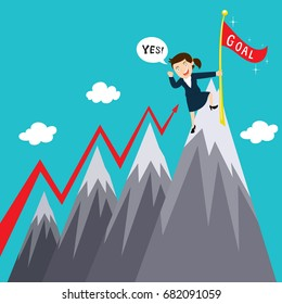 Businesswoman achievement top point goal, vector illustration cartoon