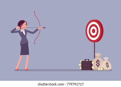 Businesswoman arching in profit target. Young woman with bow and arrow shoots to money aim, intended to achieve great result, financial benefit. Vector business concept flat style cartoon illustration
