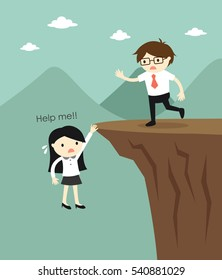 Businesswoman is asking for help and businessman is going to help her. Vector illustration.