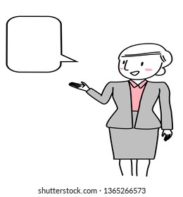 Young Woman Holding Blank Speech Bubble Stock Illustrations