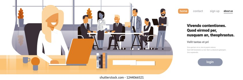 Businesswoman boss workplace over team brainstorming meeting group business people sitting together office discussing flat horizontal banner copy space
