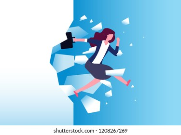 Businesswoman breaking wall. Strong woman jamps through barrier. Free people, action and overcome vector concept. Business female break wall, leadership power illustration