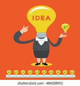 Businesswoman with bulb light head full of great ideas, vector illustration cartoon