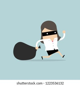 Businesswoman in burglar mask flees with stolen bag.