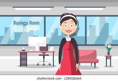 Businesswoman in Business Room. Modern Workplace Vector Design with Woman and City View Windows on Background.