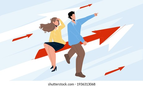 Businesswoman And Businessman Couple Aim Vector. Man And Woman Businesspeople Aim, Sitting On Arrow And Flying To Achievement Together. Characters Successful Business Flat Cartoon Illustration