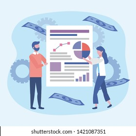 businesswoman and businessman with diagram document information