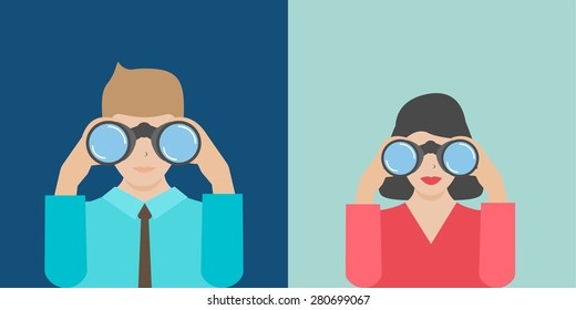 Businesswoman and businessman holding binoculars, vector illustration