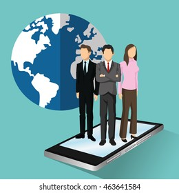 businesswoman businessman planet smartphone human resources business icon. Colorfull and flat illustration. Vector graphic