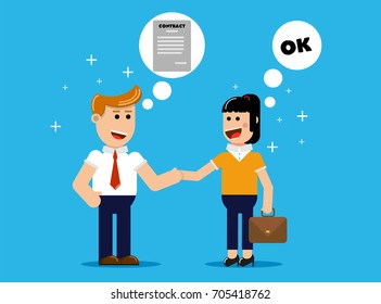 businesswoman and businessman shaking hands and agreeing to sign contract after business discussion. agreement concept.