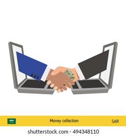 Businesswoman and businessman thinking about money. Saudi Arabian Riyal banknote vector illustration.