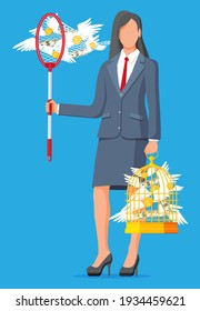 Businesswoman with butterfly net and cage chasing money. Dollar banknotes and gold coins with wings in birdcage. Concept of success career growth. Achievement and goal. Flat vector illustration
