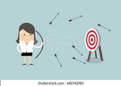 Businesswoman can not hit target with a bow and arrow. vector