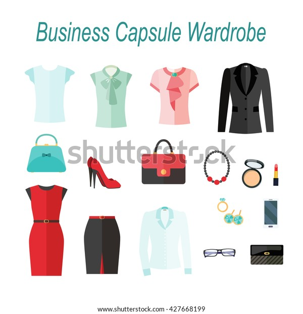 1b8967d304f76 Businesswoman capsule wardrobe, clothes, accessories and  cosmetics.Decorative icons flat set vector illustration