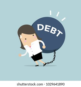 Businesswoman carry debt. Financial concept vector.