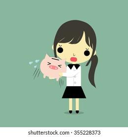 businesswoman carry empty piggy bank with sad emotion.