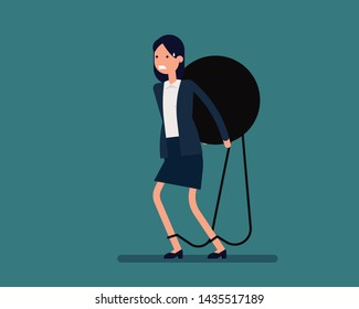 Businesswoman carrying weight. Vector illustration debt business concept, Large weight on back, Man struggles with mortgage, Flat cartoon character style design