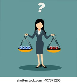 businesswoman cartoon and character facing ethical issue and choosing good or bad