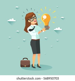 Businesswoman cartoon character has an idea for startup and holding Eureka lamp. Selling startup ideas. Colorful vector illustration in flat style