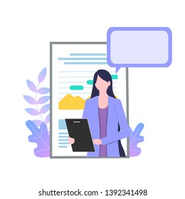 Businesswoman Cartoon Character with Report Paper Talk Presentation Vector Illustration. Professional Secretary Clipboard Personal Assistant Survey Female Office Worker Confident Girl