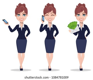 Businesswoman cartoon character, set of three poses. Beautiful business woman in office style clothes holding smartphone and holding envelope with money. Vector illustration