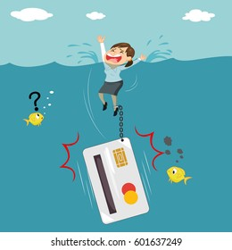 Businesswoman chained drowning with heavy credit card debt concept, vector illustration cartoon
