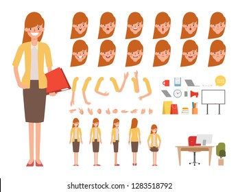 Businesswoman character for animation creation design. Animated character office woman employee.