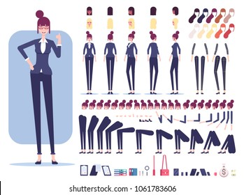 Businesswoman character constructor or creation set. Female employee with different views, emotions, haircuts, office tools and skin color isolated on white background vector flat illustration.
