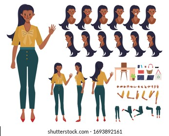 Businesswoman character creation for animation. Animated face emotion and mouth and hair. Set of businesswoman doing job flat design.