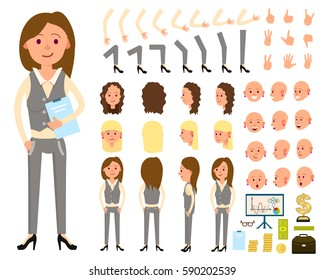Businesswoman character creation set vector illustration. Female person constructor with various gesture, emotion on face, hand, leg, pose, hairstyle. Front, side, back view animated businesswoman