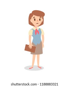 Businesswoman character set. Animate character. Female personage constructor. Vector sad personage.