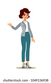 Businesswoman character set. Animate character. Young lady personage. Different woman postures. Vector cartoon personage.