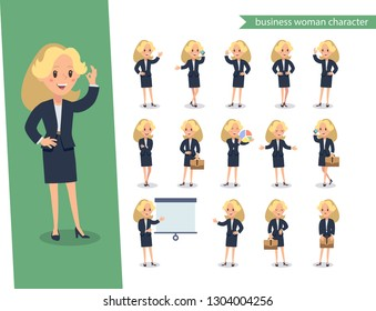 Businesswoman character set. Animate character. Young lady personage constructor. Different woman postures. Vector set personage.usinesswoman working character design set. Vector design.