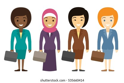 Businesswoman characters of different ethnicity in flat style. International female office staff.  Female office workers of different nationality standing smiling with cases. Vector illustration.