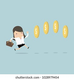 Businesswoman chasing coins video game style. vector