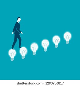 Businesswoman climbing up the bulb stairs. Creativity concept business- vector