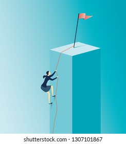 Businesswoman climbing a graph . - Achievement concept, Business goal,target Vector Illustration