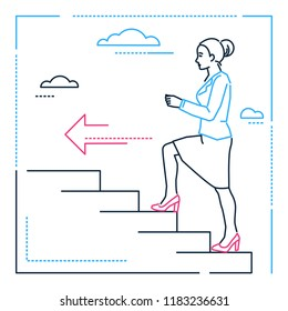 Businesswoman climbing a ladder - line design style illustration on white background. Linear image of a woman, girl, female walking upstairs, pursuing her goal, dreams. Personal development theme
