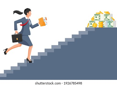 Businesswoman climbs up ladder to money. Goal setting. Smart goal. Business target. Achievement and success. Concept of success career growth. Achievement and goal. Flat vector illustration