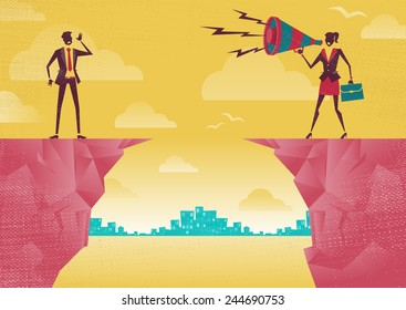 Businesswoman communicating from distance. Retro  Businesswoman standing on the cliffs shouting at the top of her voice through a loudspeaker megaphone to her colleague who is trying to hear her.
