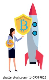 businesswoman with cryptocurrency skyrocket icon cartoon vector illustration graphic design