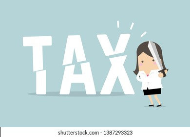 Businesswoman cut tax with sword. Business concept of reducing and lowering taxes.